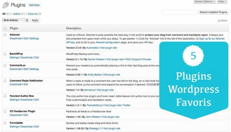 5 Plugins WordPress