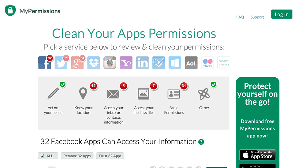 MyPermissions   Scan your permissions... Find out who gained access to your personal info.